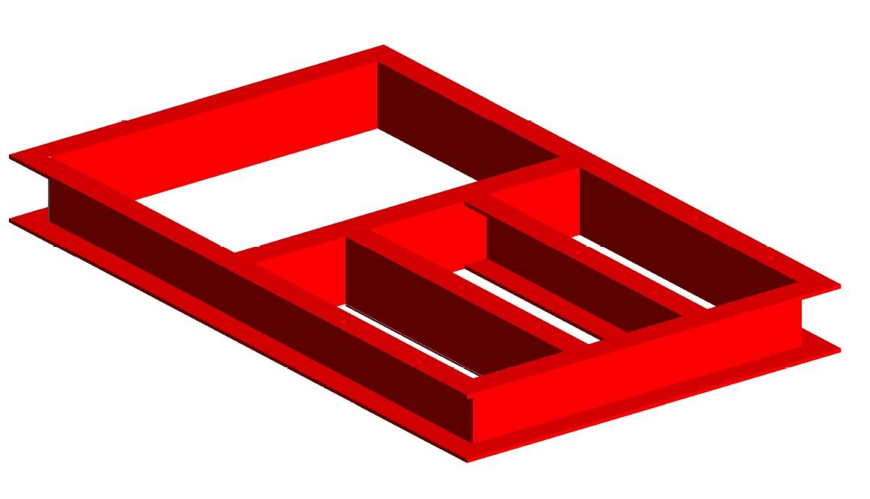 Стойка под насос, основание для насосных станций повышения давления, пожаротушения - 3D-модель ИНОТЭК, изометрия, чертеж
