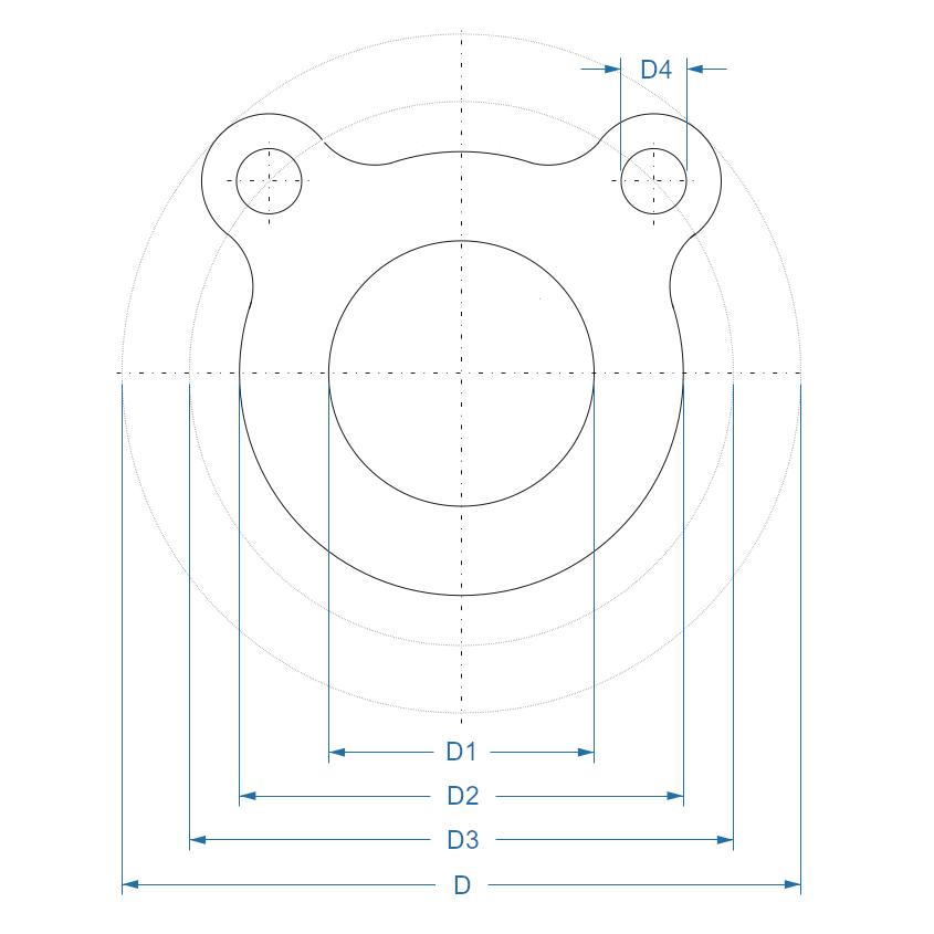 Схема-чертеж резиновых уплотнителей (прокладок) для отбортовок ISO