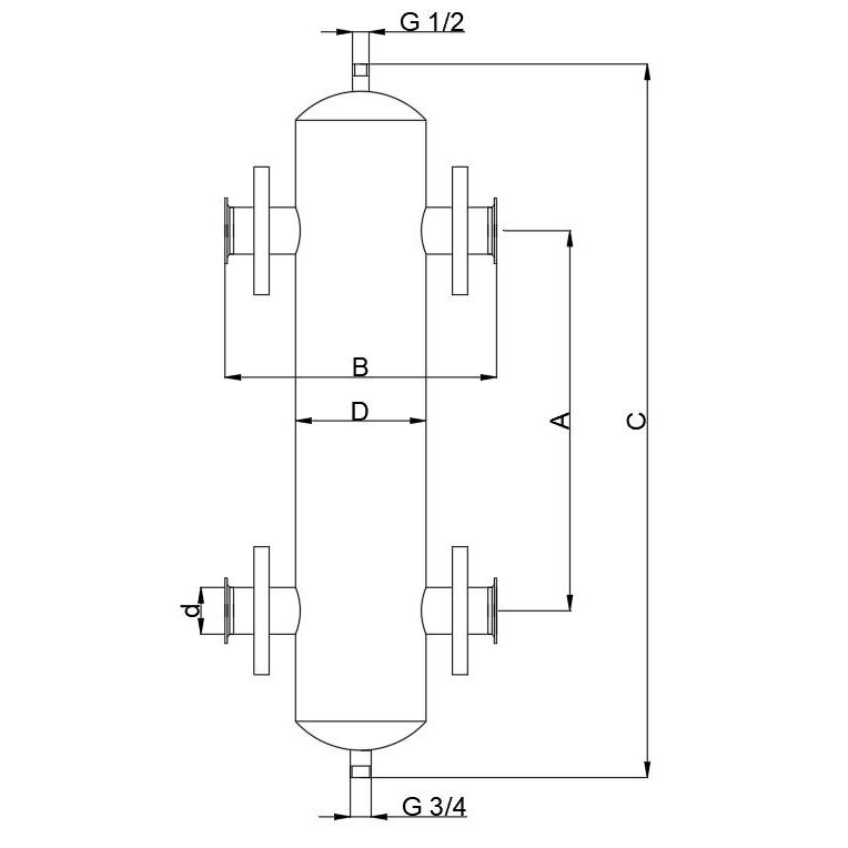 Схема (чертеж) гидрострелки, гидравлической стрелки, гидравлического разделителя ИНОТЭК